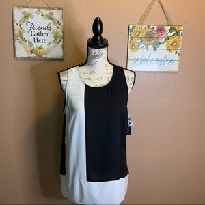 INC size 10 black and white blouse